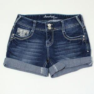Amethyst cuffed Blingy jean denim shorts size1